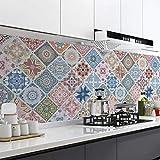 Speedsporting Fliesenaufkleber Selbstklebende, 61 x 500cm Mosaikfliesen Küchenrückwand Tapeten für Bad und Küche, PVC Fliesensticker Wandfliesen Wandaufkleber Fliesendekor Fliesenfolie (Typ 3)