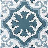 """Mediterrane Dekorfliese """"Lissabon"""" mit 10 verschiedenen Mustern   Wand- und Bodenfliesen mit blauen Ornamenten für Bad und Küche   Pro Paket 22 Fliesen in Zementfliesen Optik = 0,5 m²"""