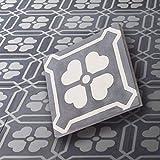 BodenMax Set von 8 Zementfliesen – Zementplatten für Fliesen, Boden und Wand - mit Blumenmuster 20x20cm