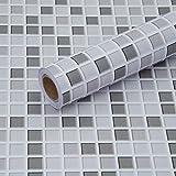 Fantasnight Fliesenaufkleber Mosaik Grau Weiß Fliesensticker 30 × 300 cm Mosaikfliesen Selbstklebende Folie für Bad und Küche Deko Fliesenfolie