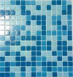 Glasmosaik Fliese Glas hellblau blau rückseitig Netz verklebt Boden Duschwand Bad