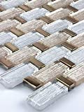 Bador Glasmosaik Fliesen Mosaikfliesen Glasfliesen Mosaik Glas Gold, Silber 30x30 Neu