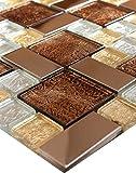 1 Matte Glasmosaik Mosaikfliesen Mosaik Glas Edelstahl Silber Gold Braun 30x30