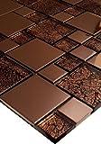 1 Matte Glasmosaik Mosaikfliesen Mosaik Glas Edelstahl Bronze Braun 30x30 8mm