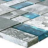 Glasmosaik Natursteinfliesen Sinop Grau Blau 2 Mix für Wandverkleidung Mosaikstein Bad Badfliesen Badezimmer Küchenspiegel