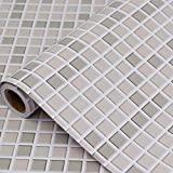Hode Mosaik Folie Selbstklebend Fliesenaufkleber für Küchen Bädern Fliesen 40X300cm Dekofolie Dekorative Klebefolie für Wandfliesen Khaki