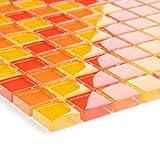 Glasmosaik Fliesen rot orange gelb Wand Boden Dusche WC Küche | 1 Matten | Art: es-29259_b