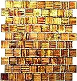 Mosaik Fliese Transluzent Glasmosaik Crystal Struktur braun klar gefrostet für WAND BAD WC DUSCHE KÜCHE FLIESENSPIEGEL THEKENVERKLEIDUNG BADEWANNENVERKLEIDUNG Mosaikmatte Mosaikplatte