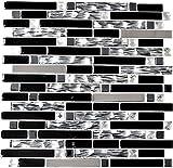 Mosaik Fliese Transluzent Edelstahl schwarz Verbund Glasmosaik Crystal Stahl schwarz Glas für WAND BAD WC DUSCHE KÜCHE FLIESENSPIEGEL THEKENVERKLEIDUNG BADEWANNENVERKLEIDUNG Mosaikmatte Mosaikplatte