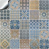24 stück Fliesenaufkleber für Küche und Bad | verschiedene Mosaik wandfliesen aufkleber für 10x10cm Fliesen Deko-Fliesenfolie für Küche u. Bad
