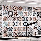 Küchenrückwand Fliesenaufkleber 61 x 500cm Mosaikfliese Klebefolie Fliesen für Küche und Bad –PVC Deko Fliesenfolie Kacheldekor Typ-B