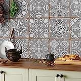 Tile Style Decals 24x Mosaik Wandfliese Aufkleber (T1Grey) für 15x15cm Fliesen 24 stück Fliesenaufkleber für Bad und Küche   Deko Fliesenfolie für Bad u. Küche